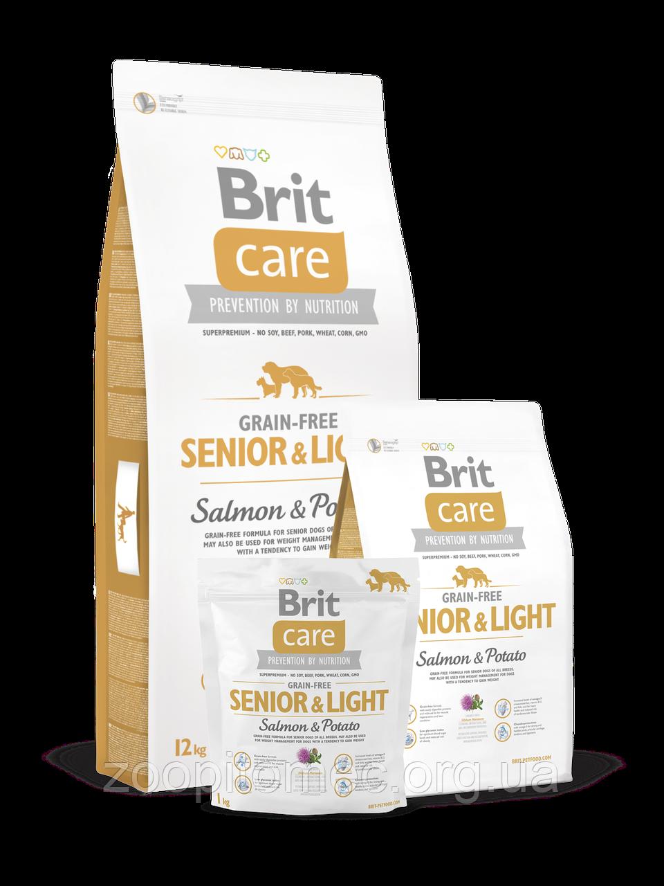 Корм Brit Care (Брит Кеа) Senior Light Salmon Potato для стареющих собак склонных к полноте лосось с картофелем, 12 кг