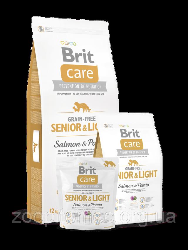 Корм Brit Care Брит Senior Light Salmon Potato для стареющих собак склонных к полноте лосось с картофелем, 12
