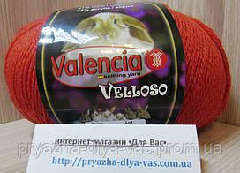 Полушерстяная пряжа (51%-шерсть, 11%-кролик, 38%-акрил, 100 г/460 м) Valencia Velloso F727(кирпич)