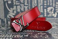 Louis Vuitton красный узкий кожаный ремень