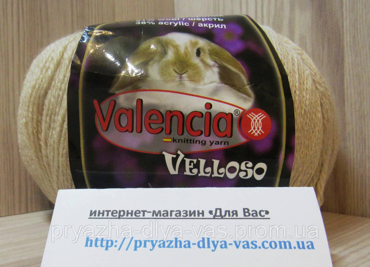 Полушерстяная пряжа (51%-шерсть, 11%-кролик, 38%-акрил, 100 г/460 м) Valencia Velloso F502(медовый)