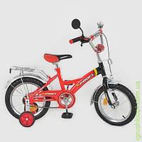 """Велосипед PROFI детский 16"""" красно-черный, звонок, зеркало, приставные колеса"""