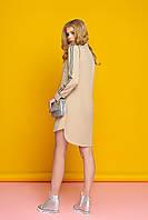 """Женское платье рубашка на пуговицах длинный рукав """"Элина"""" (бежевый)"""