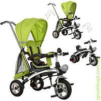 Велосипед три кол.резина, трансформер(беговел), поворот, быстросъем.колеса, зелёный