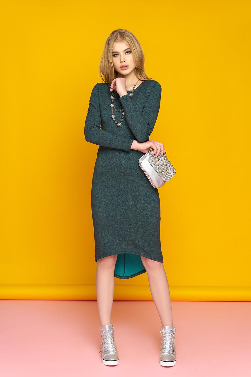 """Стильное женское базовое асимметричное платье с длинным рукавом """"А-60"""" (зелёный)"""