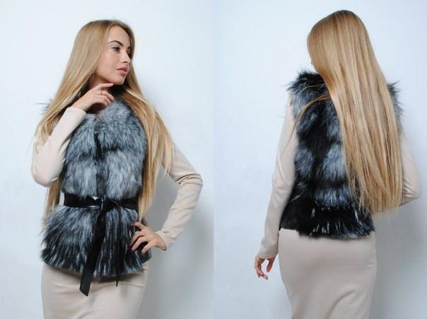 Женская меховая жилетка из искусственной чернобурки tez391414