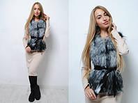 Женская меховая жилетка из искусственной чернобурки tez391414, фото 1