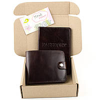 Подарочный набор №1 (7 цветов): обложка на паспорт + портмоне П1 коричневый