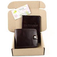 Подарочный набор №1: обложка на паспорт + портмоне П1 (коричневый)