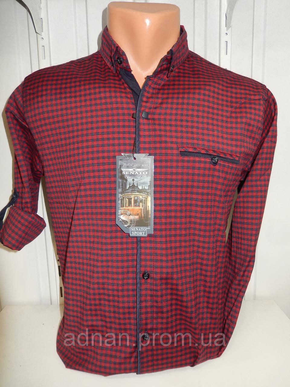 Рубашка мужская CROM клетка мелкая, стрейч, 3 заклепки 003 /купить только оптом