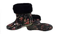 Женские силиконовые сапоги с меховым утеплителем Веночек на черном