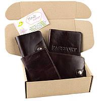 Подарочный набор №7: обложка на паспорт, права + картхолдер + портмоне П1 (коричневый)