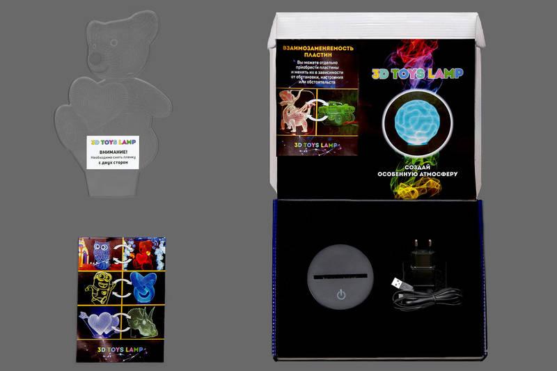 """3D светильник """"Два сердца со стрелой"""" 3DTOYSLAMP, фото 3"""