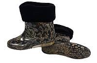 Женские силиконовые сапоги с меховым утеплителем Шиповник на черном