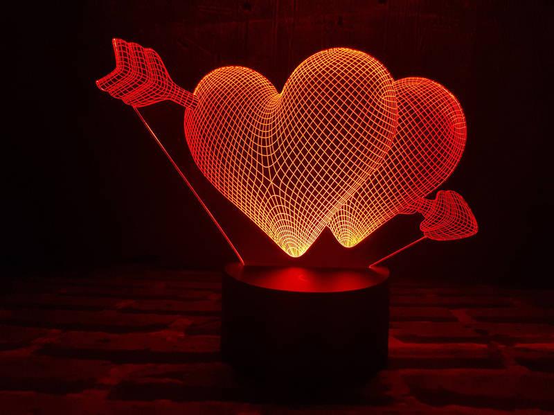 """3D светильник """"Два сердца со стрелой"""" 3DTOYSLAMP, фото 1"""