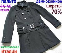 Демисезонное двубортное женское пальто ШЕРСТЬ 70% Б/У размер 44-46
