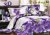 Двуспальное  постельное белье с простыынью на резинке ТЕТ-А-ТЕТ 614 ранфорс