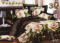 Двуспальное  постельное белье с простыынью на резинке ТЕТ-А-ТЕТ 610 ранфорс