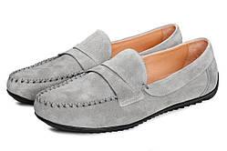 Мокасины мужские кожаные Аnton Kuzmin ML Silver Grey R серые