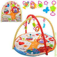Коврик для младенца круглый 82см, дуга 2шт, подвески 4шт, в сумке
