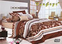 Двуспальное  постельное белье с простыынью на резинке ТЕТ-А-ТЕТ 618 ранфорс