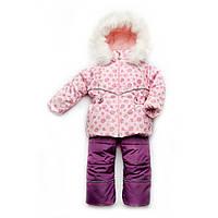 Зимний детский костюм-комбинезон для девочки  Bubble pink 92 Модный карапуз (03-00602-0)