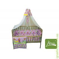 Комплект в детскую кроватку 8 элементов бязь, (цв.розовый)