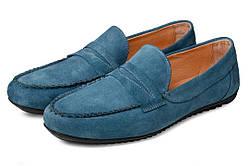 Мокасины мужские кожаные Аnton Kuzmin ML Monaco Blue серо-голубой