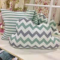 Комплект декоративных подушек в детскую 2шт. Подушка-тучка 50х35 мятный зигзаг; 40х40 мятная полоса;
