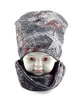 Детская шапка с 48 по 52 размер хомутом трикотажная двойная детские шапки демисезонные, фото 1