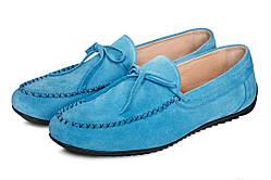 Мокасины мужские кожаные Аnton KuzminML Miami Blue голубые