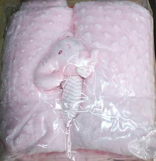 Плед для детей с игрушкой Golden spring (розовый), фото 2