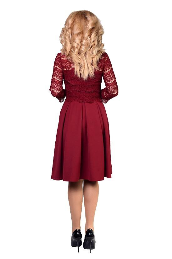 dc792cef834a Красивое пышное платье с гипюром, бордового цвета, длины миди, фото 2