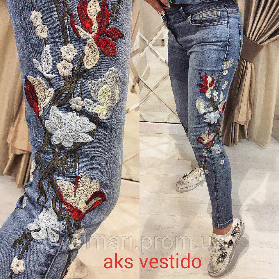 Женские шикарные джинсы с вышивкой , фото 1