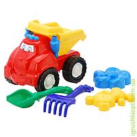 """Машина """"Смайл"""" самосвал №2: машинка, лопатка и грабельки (ЛГ4), две большие пасочки (П4) COLORplast"""