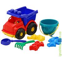 "Машина ""Тотошка"" самосвал №3: машинка, ведёрко, лопатка и грабельки (ЛГ3) и три пасочки (П3) COLORplast"