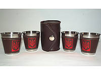 ST3-5213 Стопки з нержавіючої сталі 4 шт. (шкіряна сумка) Об'єм: 100 мл