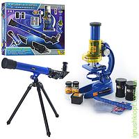 Микроскоп размер микроскопа 19,5-11-7см, телескоп (размер 43,5-13-5,5см), стекла 6шт, пробирки 2шт, 16 предметов в коробке, в кор-ке