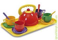 Набір дитячого посуду з чайником та підносом (14 предметів) Юніка