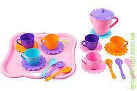 """Набір посуду """"Ромашка"""" на 6 персон з підносом та чайником, Тигрес"""