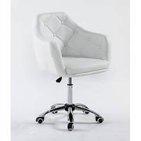 Кресло для салона красоты Білий, П'ятилуччя на колесиках