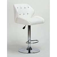 Кресло для салона красоты Білий, 60-80см.(високе/ барне/ візажне/ тощо) на диску