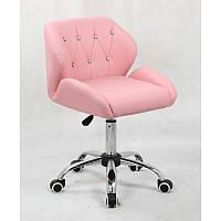 Кресло для салона красоты Рожевий, 40-60см.(низьке/ манікюрне/ офісне/ тощо) на колесах