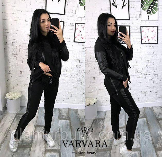 16af8c83 Женский спортивный костюм штаны кофта батник с кожаными рукавами и  вставками чёрный
