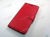 Кожаный чехол книжка ZTE Blade V8 (красный)