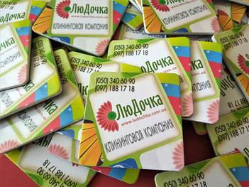 Рекламные магнитики на заказ для клининговой компании. Размер 63х63 мм 4