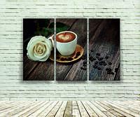 """Модульна картина """"Троянда з кавою"""""""