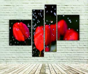 """Модульна картина """"Тюльпани під дощем"""""""