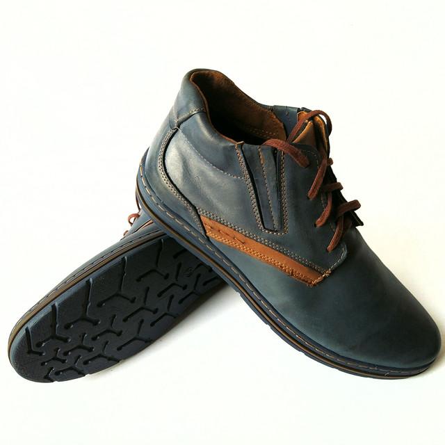 Кожаная мужская польская обувь полуботинки синего цвета на байке