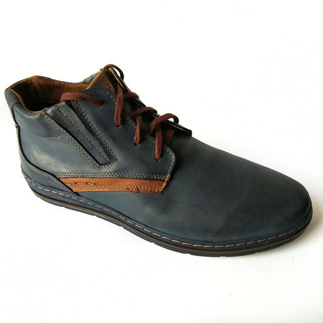Кожаная мужская польская обувь полуботинки синего цвета на шнуровке